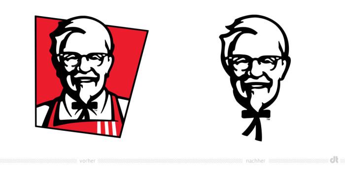 KFC Logo The Colonel – vorher und nachher