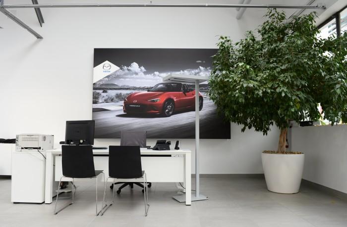 Neues Store-Design? Foto, auf dem das alte Markenzeichen samt Raute abgebildet ist. Quelle: Mazda