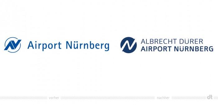 """Airport Nürnberg Logo €"""" vorher und nachher"""
