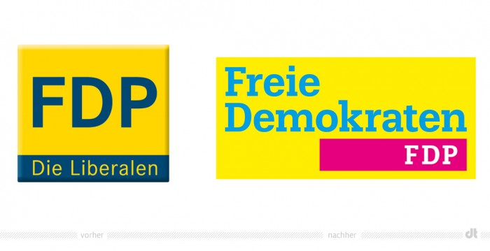 """FDP Logo –"""" vorher und nachher"""
