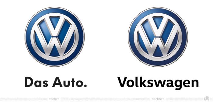Volkswagen Logo – vorher und nachher