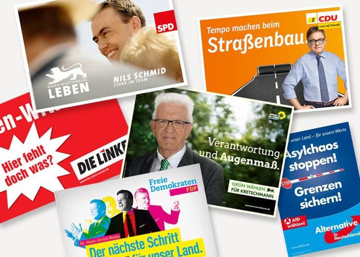 Die Plakate zur Landtagswahl 2016 in Baden-Württemberg