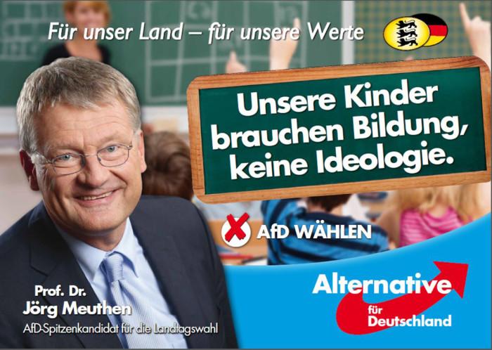 Landtagswahl Baden-Württember 2016 AfD Plakat – Jörg Meuthen