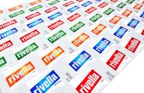 Etikettenbogen aller Rivella-Geschmacksrichtungen Quelle: PHOTOPRESS/Rivella