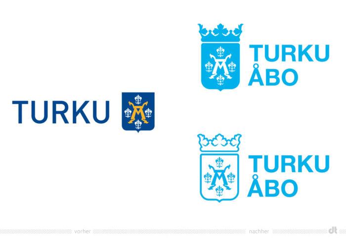 Turku Stadtwappen – vorher und nachher