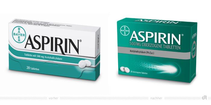 Aspirin Verpackung – vorher und nachher