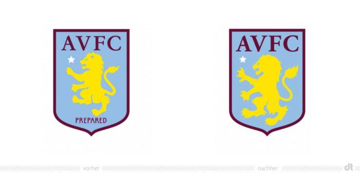 Aston Villa FC Wappen – vorher und nachher