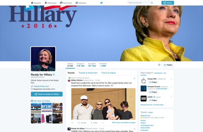 Ready For Hillary Twitter-Account