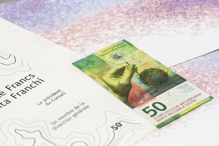 Die 50er-Note, Entwürfe Rasterzellensujets im Hintergrund