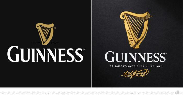 Guinness Logo – vorher und nachher