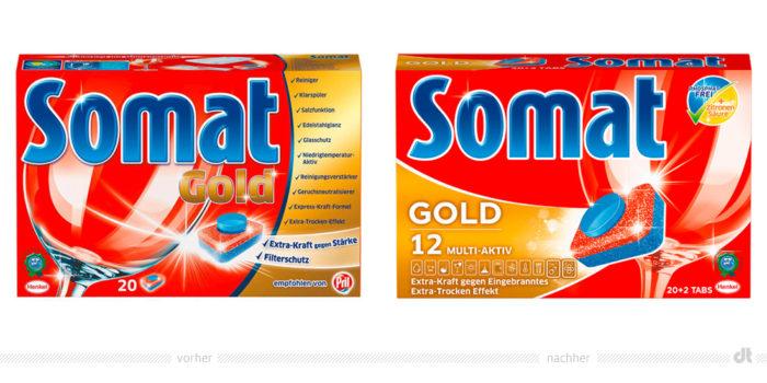 Somat Gold Verpackung – vorher und nachher