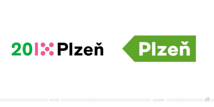 Stadt Pilsen Logo – vorher und nachher