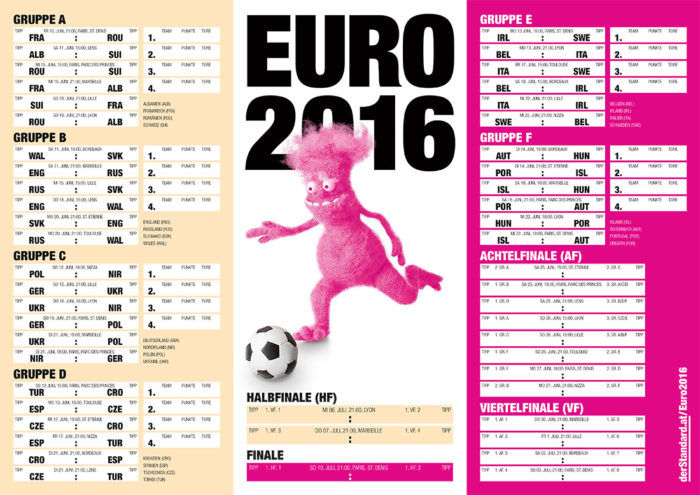 UEFA EURO 2016 DER STANDARD Spielplan