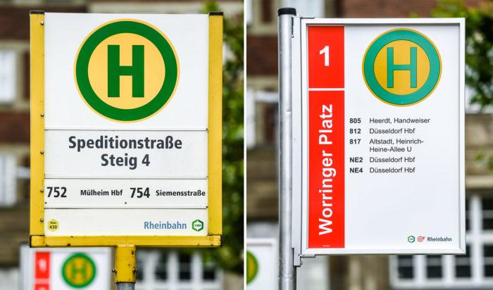 Haltestellenschilder im Vergleich; links das alte Schild, rechts das im Februar 2016 eingeführte und vielfach kritisierte Schild, Quelle: Andreas Endermann / RP ONLINE