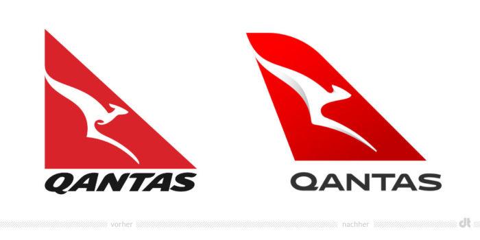 Qantas Logo – vorher und nachher