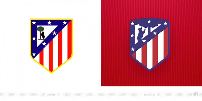 Atlético de Madrid Wappen – vorher und nachher