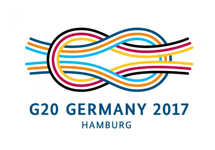 """""""Eine vernetzte Welt gestalten"""" – Logo G20-Gipfel 2017"""