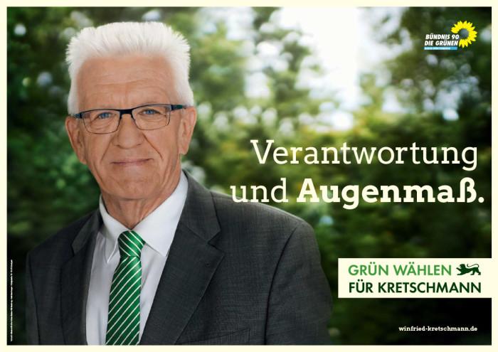 Plakat zur Landtagswahl in Baden-Württemberg 2016 Bündnis90/Grüne – Winfried Kretschmann