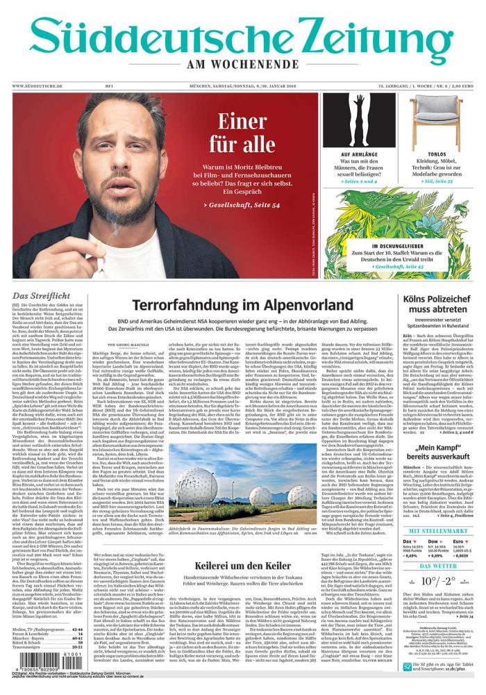 Titelseite Süddeutsche Zeitung, 9. Januar 2016
