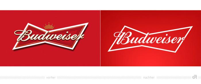 Budweiser Logo – vorher und nachher