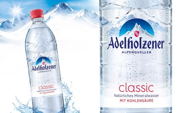 Adelholzener Mineralwasser im neuen Design