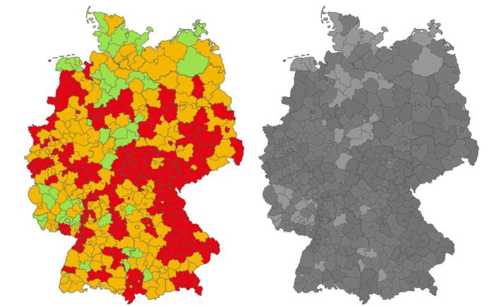 Coronavirus Neuinfektionen Deutschland Karte – BILD Graustufenansicht