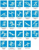 Piktogramme der Olympischen Winterspiele 2018 in Pyeongchang