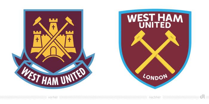 West Ham United Logo – vorher und nachher