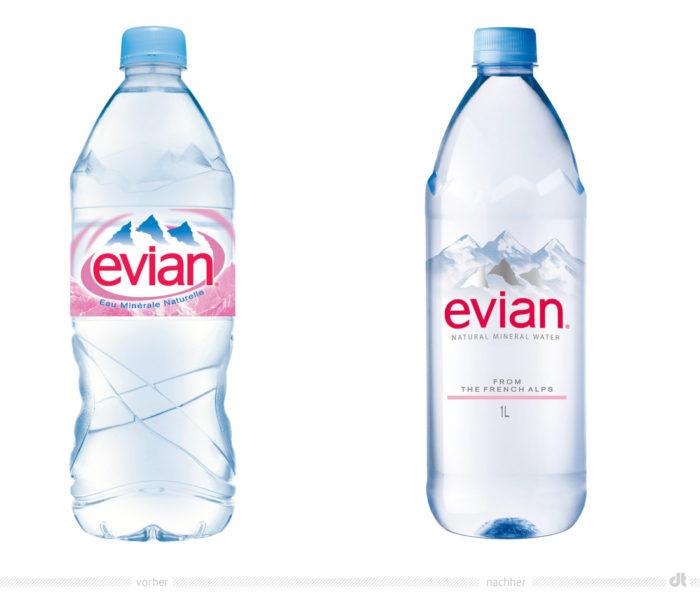 Evian Flasche – vorher und nachher