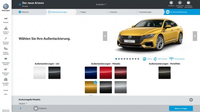 Volkswagen Deutschland Konfigurator im Web Design 5.0