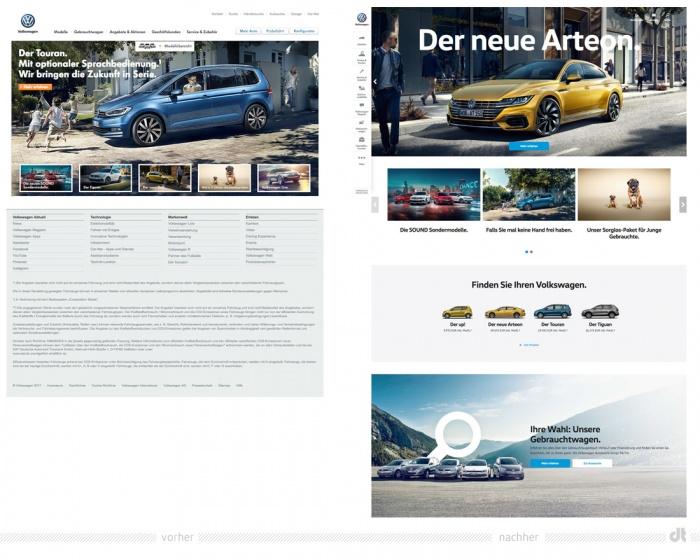 Volkswagen.de – vorher und nachher