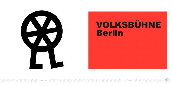 Berliner Volksbühne Logo – vorher und nachher