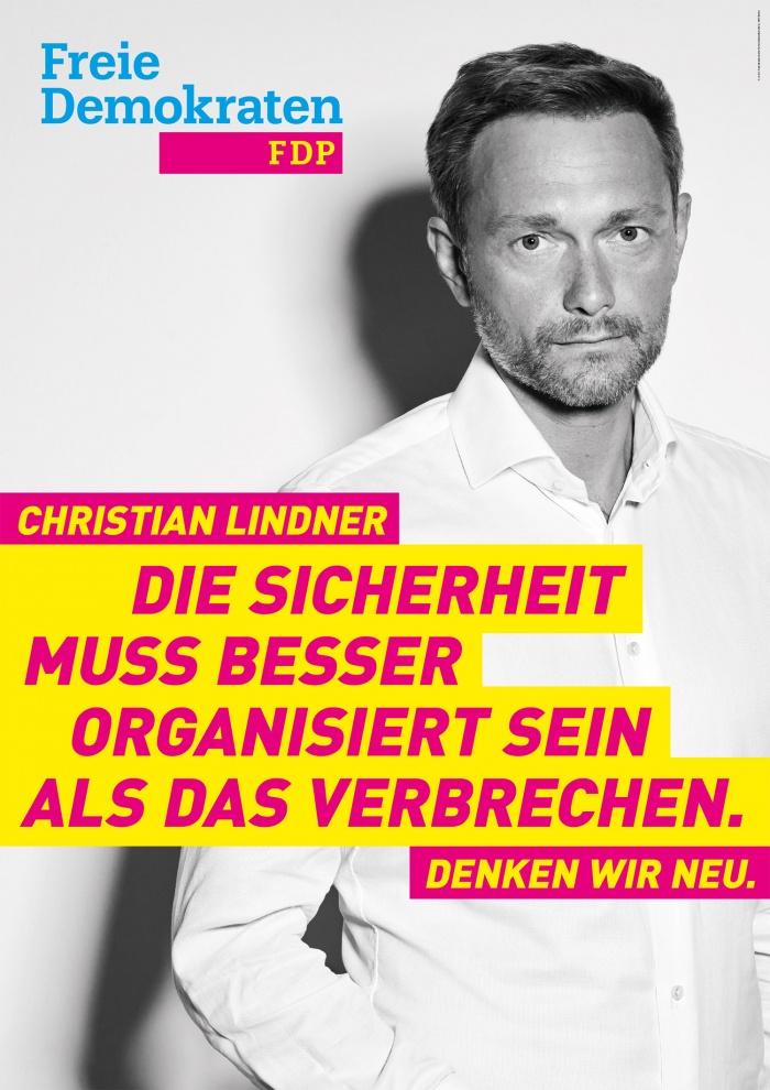 Bundestagswahl 2017 Plakat FDP Sicherheit Lindner