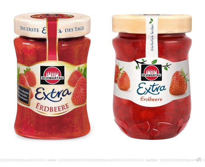 Schwartau Extra Erdbeere – vorher und nachher