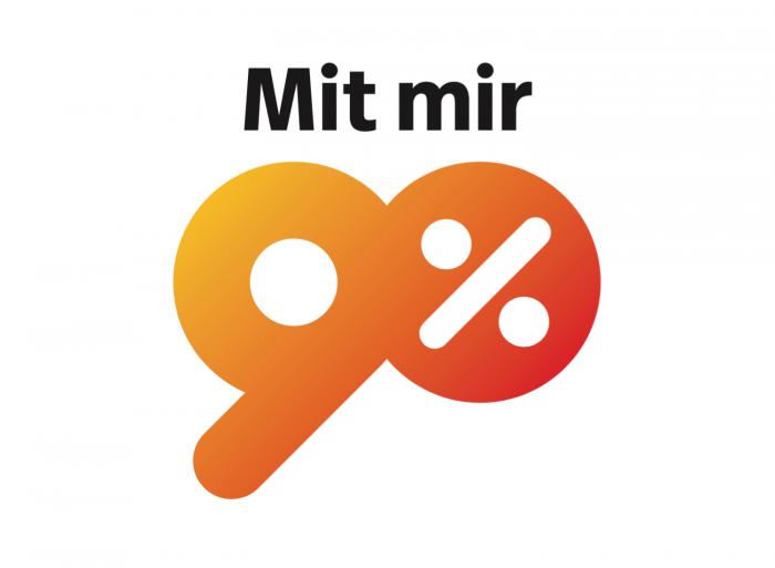 Mit mir 90 Prozent Logo