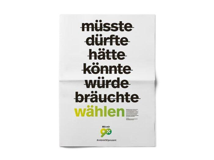 """Aufruf/Kampagne zur Bundestagswahl: """"Mit mir 90 Prozent"""""""
