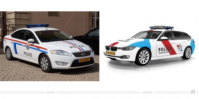Polizei Luxemburg Fahrzeug – vorher und nachher