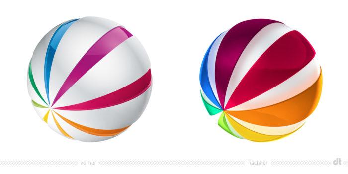 SAT.1 Ball/Logo – vorher und nachher