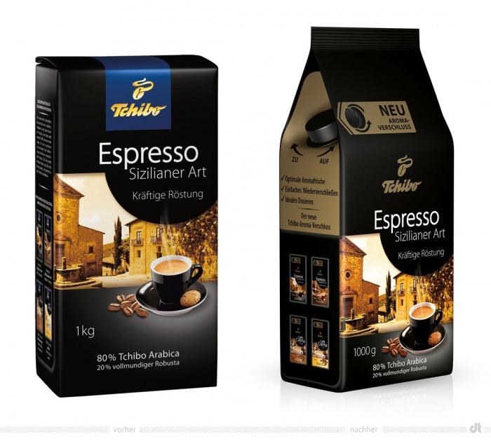Tchibo Espresso Sizilianer Art – vorher und nachher
