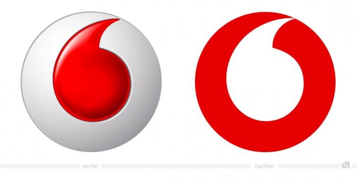 Vodafone Logo – vorher und nachher