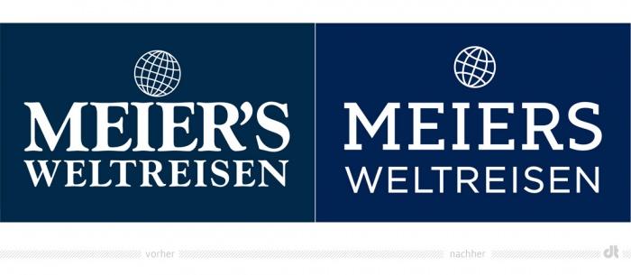 Meiers Weltreisen Logo – vorher und nachher