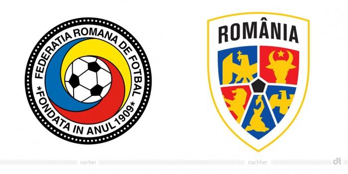 Rumänische Fußballnationalmannschaft Logo – vorher und nachher