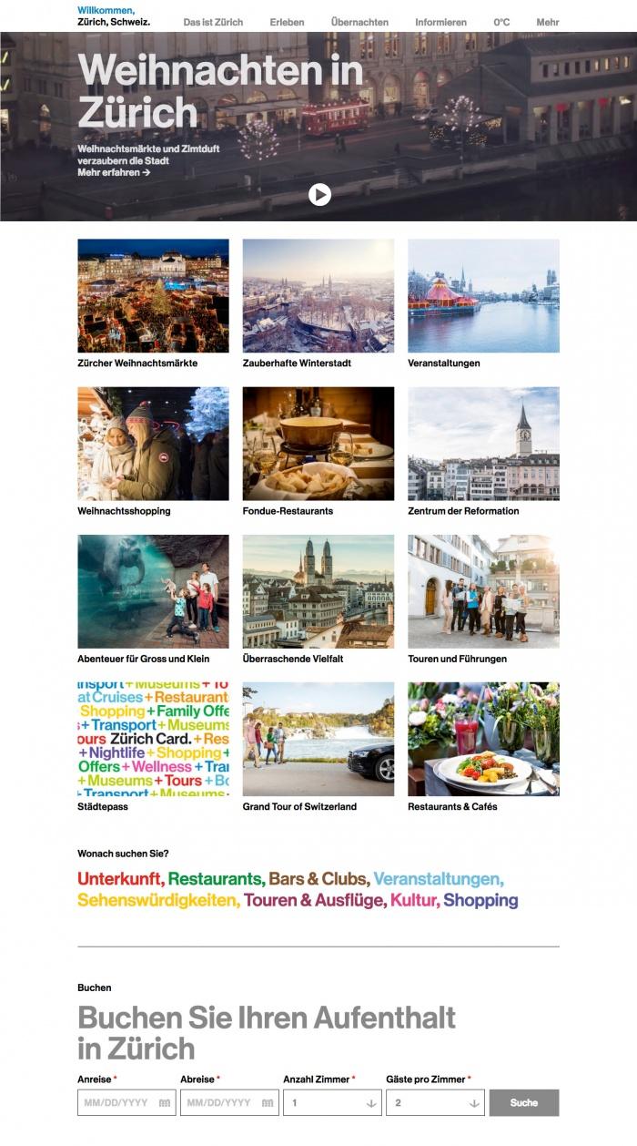 Zürich Tourismus Website