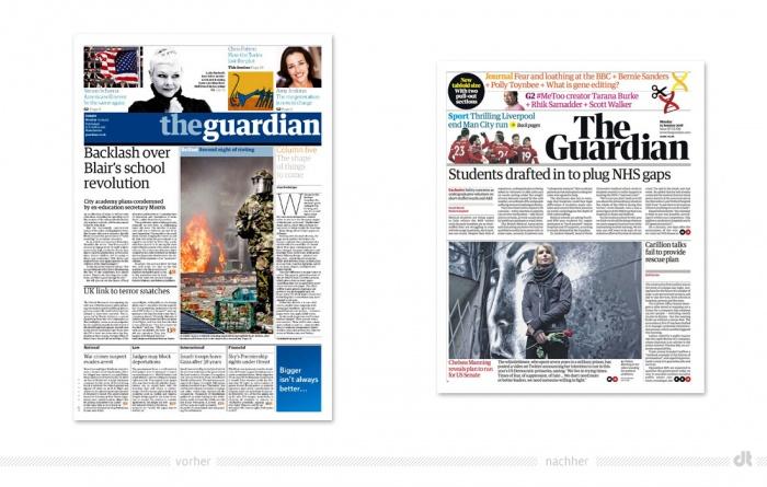 The Guardian Newspaper – vorher und nachher