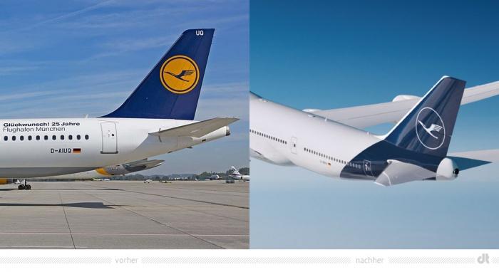 Lufthansa Heckflosse Design – vorher und nachher