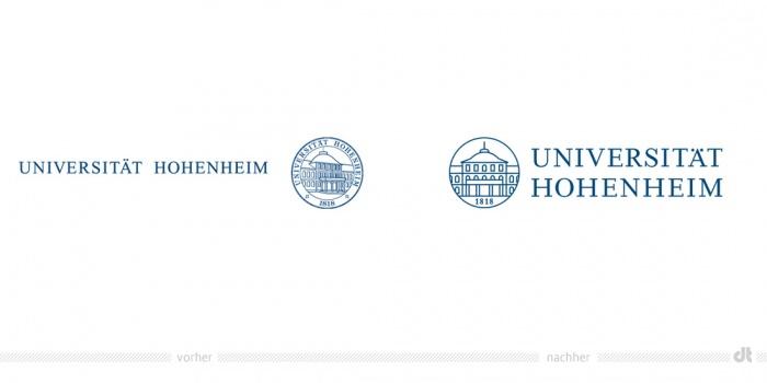 Universität Hohenheim Logo – vorher und nachher