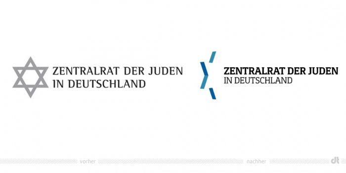 Zentralrat der Juden Logo – vorher und nachher