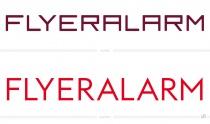Flyeralarm Schriftzug – vorher und nachher