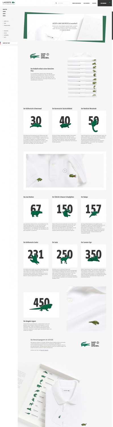 Lacoste Save our Species Website