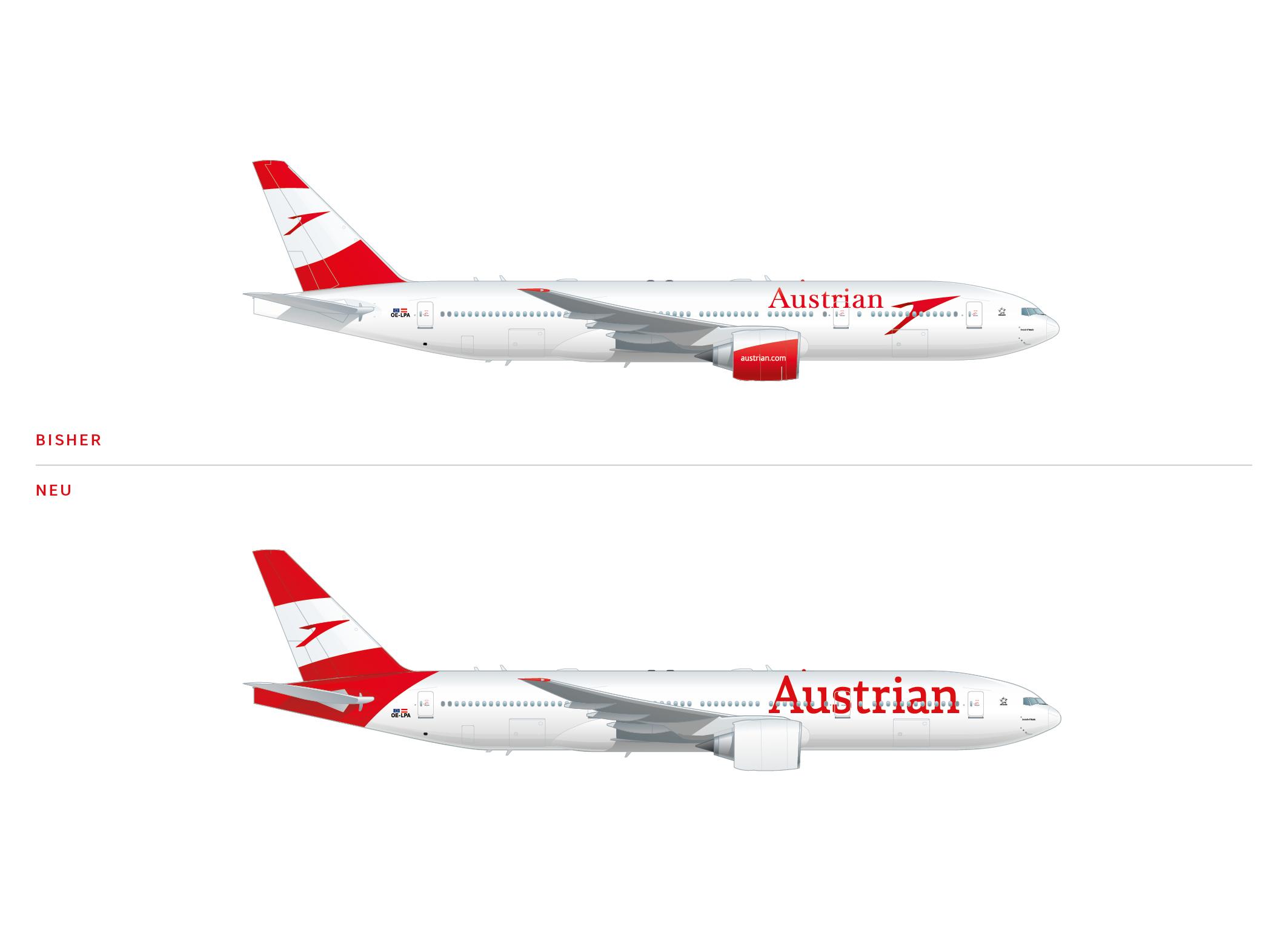 Austrian Airlines Livery – vorher und nachher